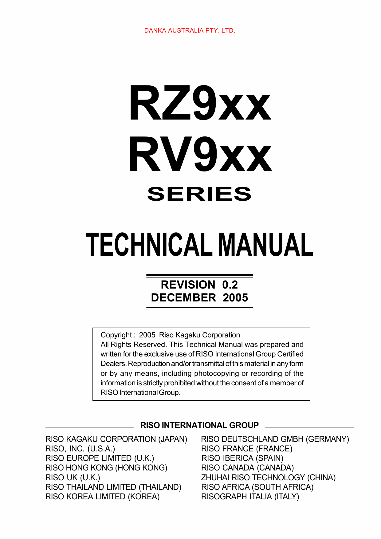 RISO RZ 990 997 970 977 970 977 RV9690 RV9698 TECHNICAL Service Manual-1